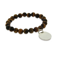 Engravable Genuine Tigers Eye Power Bead Bracelet