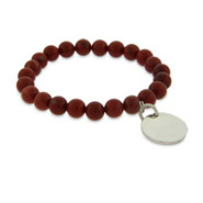 Engravable Genuine Red Jasper Power Bead Bracelet
