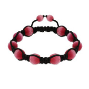 Faceted Pink Cat's Eye Bead Shamballa Inspired Bracelet