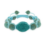 Blue Turquoise Agate Genuine Stone Shamballa Inspired Bracelet with Carved Bead