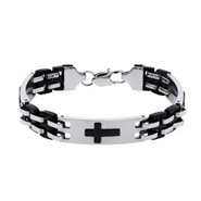Men's Engravable Triple Cross Linked Bracelet