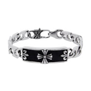 Men's Stainless Steel Bracelet with Cross and Fleur de Lis Design