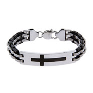 Men's Black Plate Engravable Stainless Steel Cross Bracelet