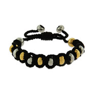 Gold and Silver Beaded Shamballa Inspired Bracelet