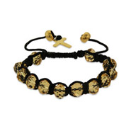 Champagne Beaded Shamballa Inspired Bracelet with Gold Cross