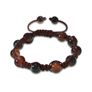 Chocolate Tigers Eye with Brown Cord Shamballa Inspired Bracelet