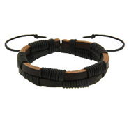 Men's Brown and Black Leather Bracelet