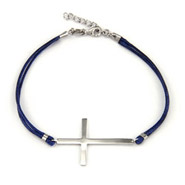 Sterling Silver Sideways Cross Bracelet on Blue Cord