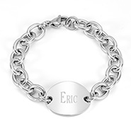 Tiffany Inspired Stainless Steel Oval Tag Bracelet
