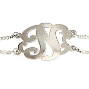 Sterling Silver Single Initial Custom Monogram Bracelet