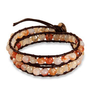 Chen Rai Genuine Rose Agate Brown Wrap Bracelet