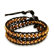 Chen Rai Gold Beaded Black Wrap Bracelet