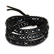 Chen Rai Black Faceted Bead Triple Wrap Bracelet