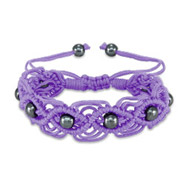 Purple Beaded Macrame Friendship Bracelet