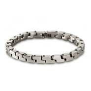 Men's Stainless Steel Zig Zag Box Link Bracelet