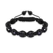 10mm Black Macrame Shamballa Inspired Bracelet