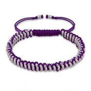 Purple Beaded Disc Friendship Bracelet