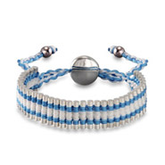 Blue and White Links Engravable Friendship Bracelet