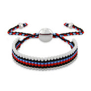 Red, Blue and Black Links Engravable Friendship Bracelet