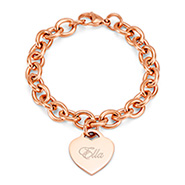 Tiffany Inspired Rose Gold Heart Tag Bracelet