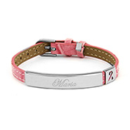 Engravable Pink Leather Breast Cancer Awareness ID Bracelet