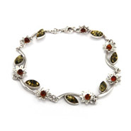 Sterling Silver Baltic Amber Vine of Flowers Bracelet