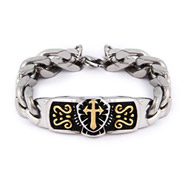 Men's Renaissance Cross Curb Linked Steel Bracelet