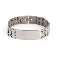 Men's Wide Linked Engravable Stainless Steel ID Bracelet