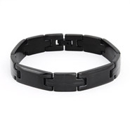 Men's Black Plate Stainless Steel Linked Bracelet