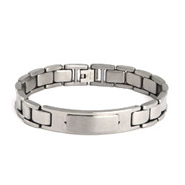 Men's Stainless Steel Bracelet with Engravable ID Plaque