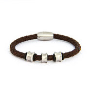 Nitro Stainless Steel Brown Braided Leather Men's Bracelet