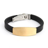 Men's Engravable Gold Plated Stainless Steel ID Bracelet