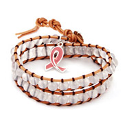 Breast Cancer Awareness Wrap Bracelet with Pink Ribbon Charm