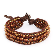 Chen Rai Bronze Beaded Brown Leather Single Wrap Bracelet
