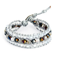 Chen Rai Jeweled Silver Leather Beaded Single Wrap Bracelet