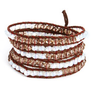 Chen Rai Cocoa and Quartz Leather Long 5 Row Wrap Bracelet