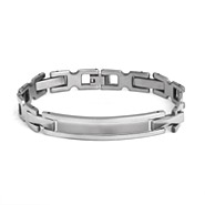 Men's Stainless Steel Engravable ID Bracelet with Ladder Links