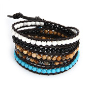 Chen Rai Five Row Mixed Gemstones Wrap Bracelet