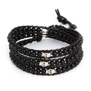 Chen Rai Onyx and Skull Wrap Bracelet on Dark Brown Leather