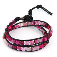 Chen Rai Double Row Shades of Purple Agate Wrap Bracelet