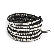 Chen Rai Silver Nuggets and Skulls Long Wrap Bracelet