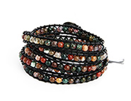Chen Rai Earth Tone Jasper Bead Long Wrap Bracelet