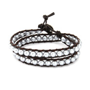 Chen Rai Gray Shell Pearl Wrap Bracelet on Brown Leather