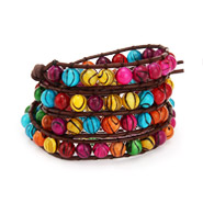 Chen Rai Carnival Lights Brown Leather Wrap Bracelet