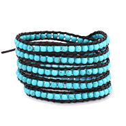Chen Rai 5 Row Turquoise Wrap Bracelet on Black Leather