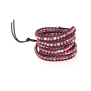 Chen Rai Purple Haze Long Wrap Bracelet on Black Cord
