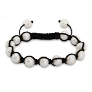 White Potato Pearl Shamballa Inspired Bracelet