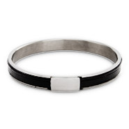 Stainless Steel Slim Black Leather Engravable Mini ID Plate Bangle Bracelet