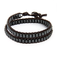 Chen Rai Hematite Bead Double Layer Wrap Bracelet