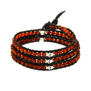 Chen Rai Carnelian Bead and Skulls 3 Layer Wrap Bracelet